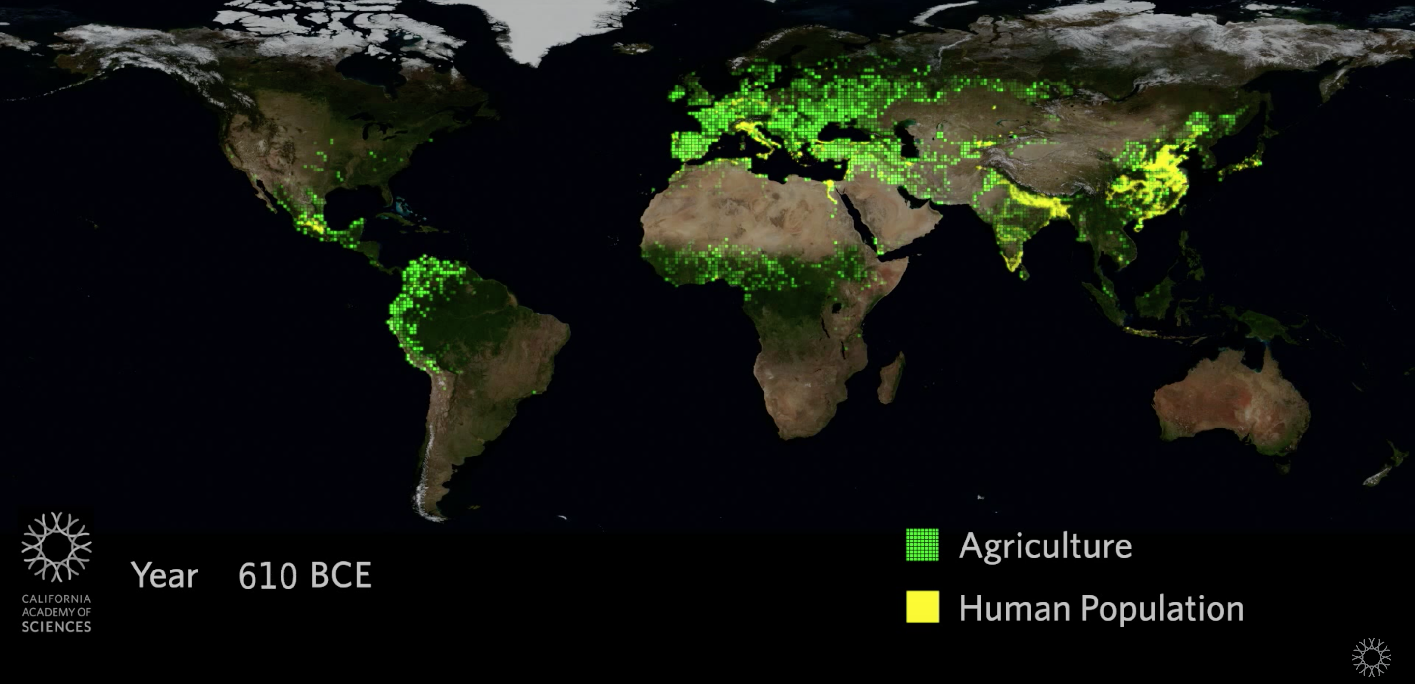 world map of human agriculture and population around 600 BCE at the end of ap world history period 1